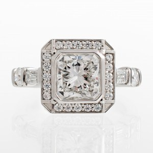 Radiant Art Deco Halo Diamond Engagement Ring