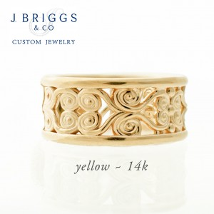 Filigree Wide Band Yellow Gold