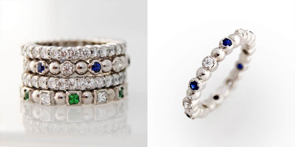 Stackable Eternity Ring Round Sapphires and Diamonds