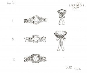 Jewelry artist Jennifer Briggs Jenkins draws sketches of the piece that capture the conversations she has had with the customer.