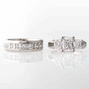 Three Stone Cushion Woven Diamond Engagement Ring & Wedding Band Set