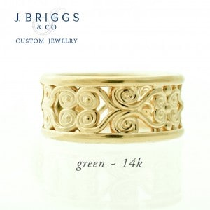 Filigree Wide Band Green Golsd