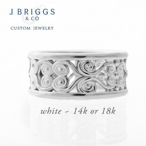 Filligree Wide Band White Gold